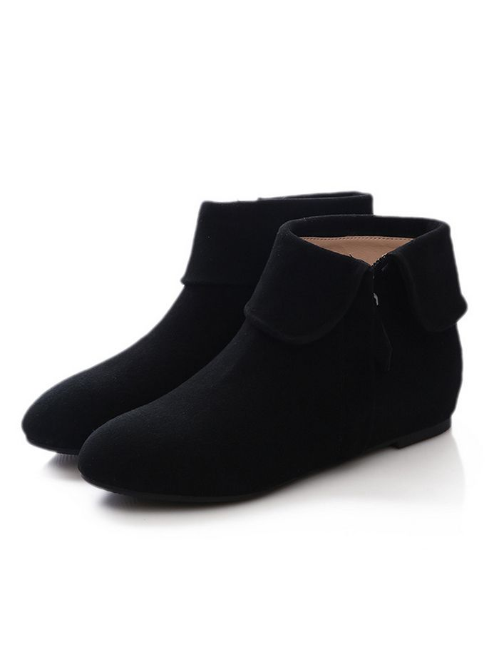 Women's Flat Pointed Toe Zipper Fashion Boots Ankle Boots - ecydeal.com