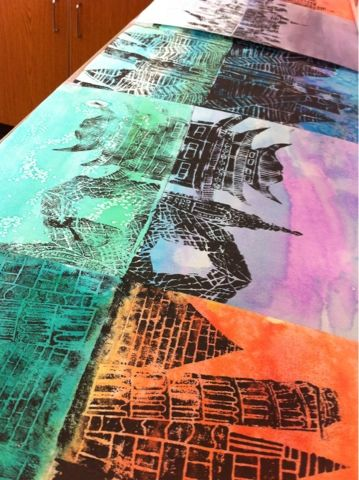 Art at Becker Middle School: Reflecting architectural prints.      Watercolor washes for background paper.  Ink print and press 2nd paper over the print before it can dry to create a ghost print reflection.  Look at cities on the water.  Ghost print should be done on cool, water-like colors.  The print done in sunset/sunrise color.