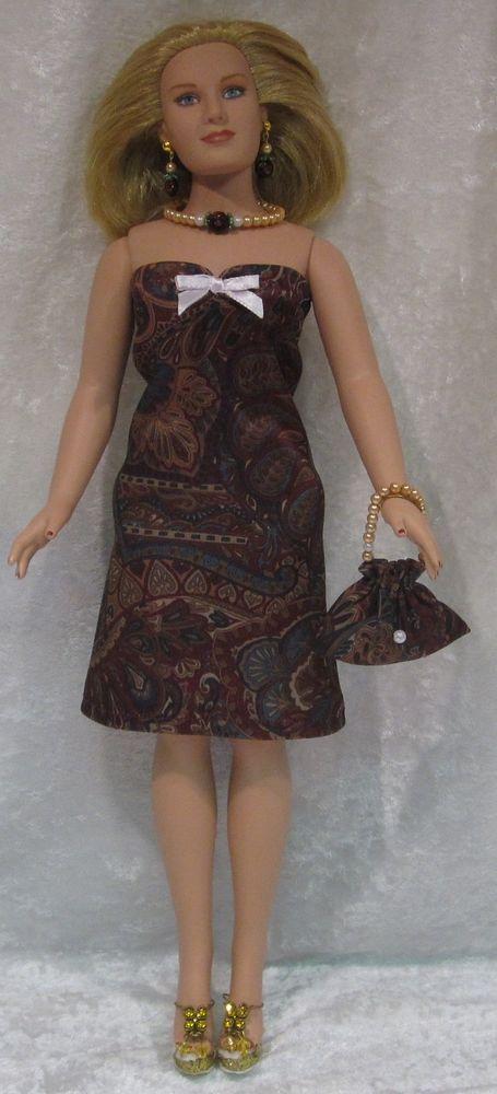 EMME Tonner Full Figure Doll Clothes #18 Dress, Purse, Necklace, Earrings Set #HandmadebyESCHdesigns