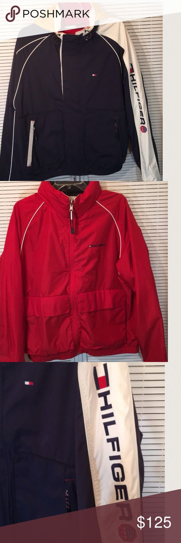 """Tommy Hilfiger Reversible Retro Jacket Large EUC This is a fabulous jacket that my husband never wore. He gained weight by spring and couldn't wear it. It has been stored in my Cedar chest and is in perfect condition. Chest is 50"""". Length is 25 1/2"""". Sleeves are raglan and measure from arm pit to hem 22 1/2"""". The blue side has 2 big pockets that are 10"""" wide and 9"""" tall with a zipper closure. One of the pockets has reflective design. Hidden yellow hood. Embroidered logo down left sleeve…"""
