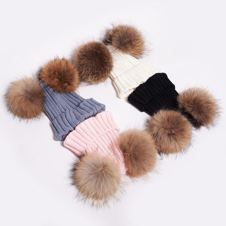 Masie Pink Double Fur Pom Pom Hat