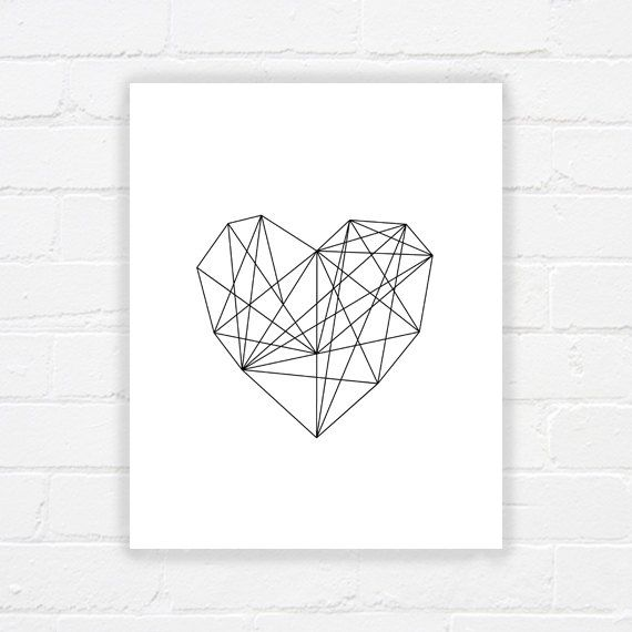 Heart print - printable poster - modern art - geometric printable art - valentines printable - black and white print - INSTANT DOWNLOAD