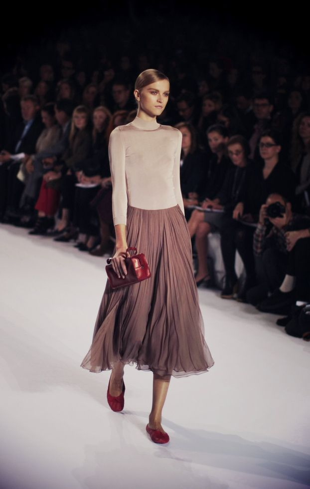 love. simple, clean style & muted tones & red accents. Chloe S/S 2011