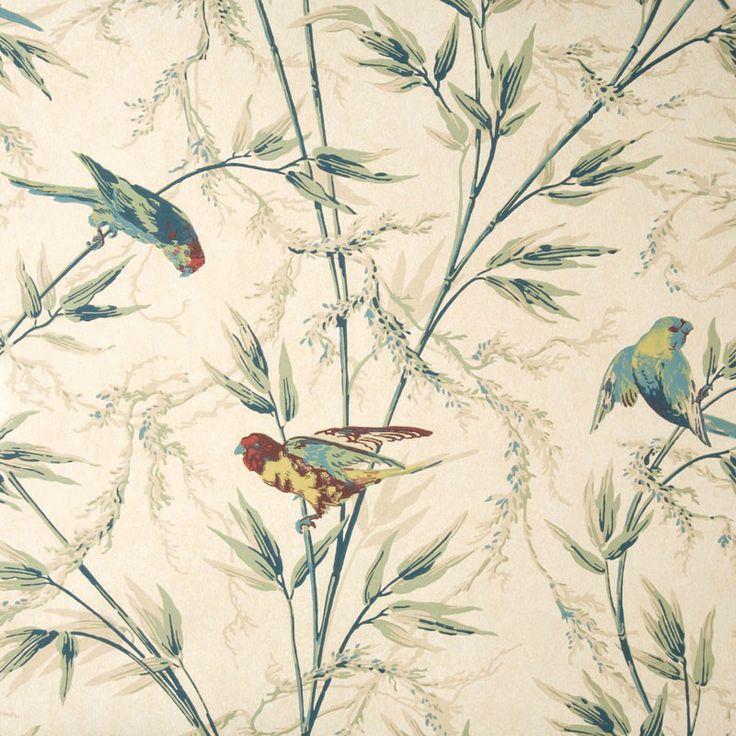 Great Ormond Street wallpaper - parchment.  Close up.