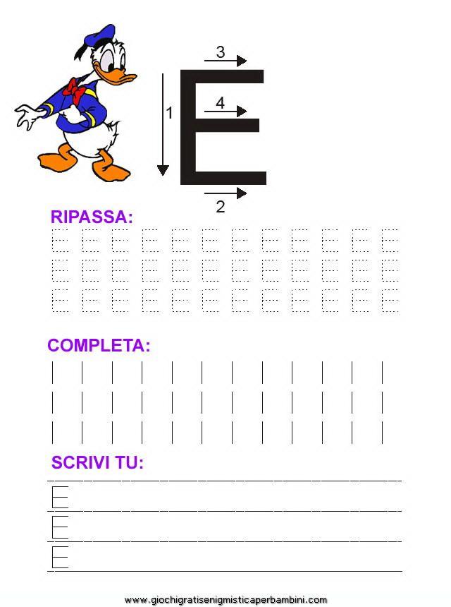 17_grafia_lettera_e Schede didattiche impara a scrivere le lettere