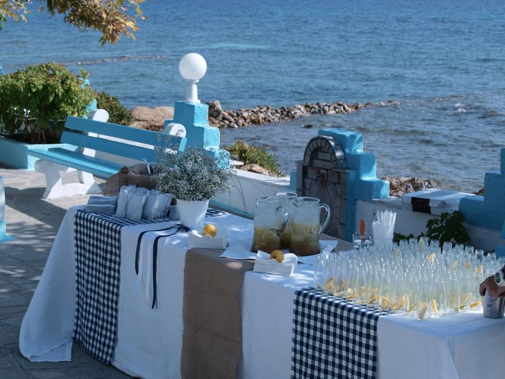 Lemonade and refreshment for guests. Wedding in Chalkidiki Greece.