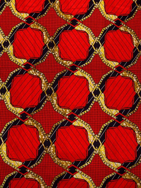 Ankara Super Deluxe Wax Fabric Red 100% Cotton 6 yards For Wedding Dress sw44304