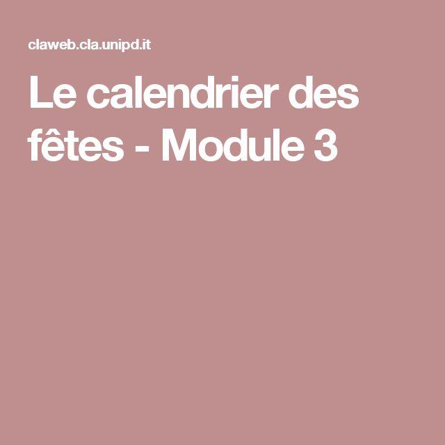 Le calendrier des fêtes - Module 3