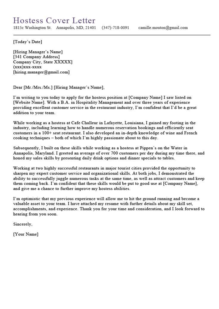 Hostess Cover Letter Free Downloadable Sample Resume
