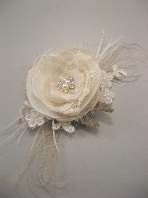 Vintage fascinator Wedding hairpiece small Rustic burlap bridal flower shabby…