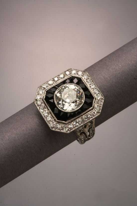I WANT THIS RING! Too bad the estimate at auction is $3000-$5000! Art Deco Tested Platinum, Diamond and Black Onyx Ring