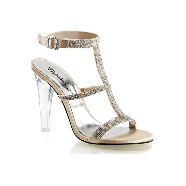 Women's Fabulicious Clearly 418 ($54) ❤ liked on Polyvore featuring shoes, sandals, dresses, gold, high heels, t strap sandals, open toe sandals, ankle wrap sandals, champagne sandals and t strap high heel sandals