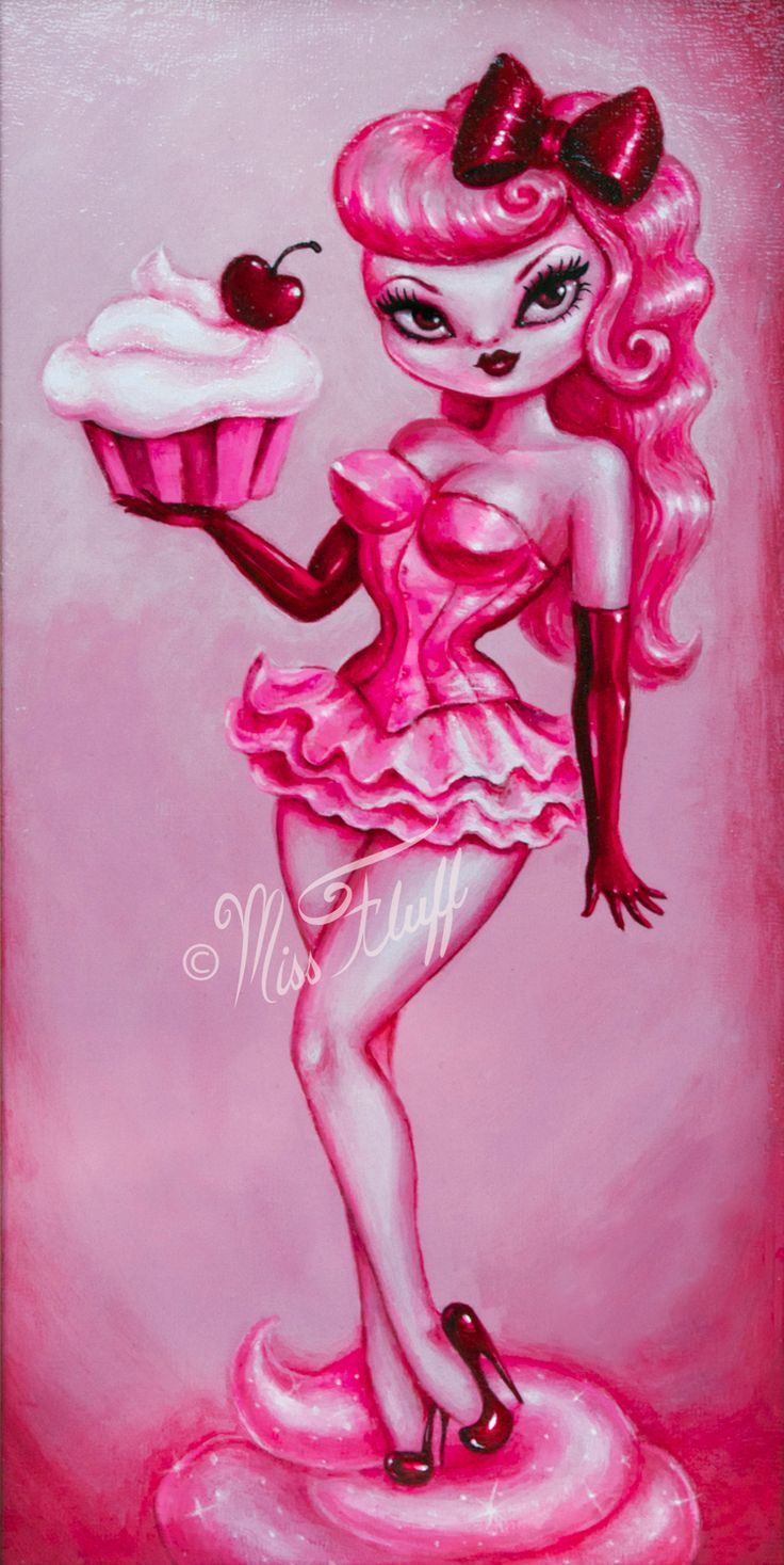 New! Pink Cupcake Girl- Fine Art Print. Edition of only 10 pieces. From an…