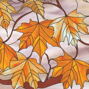 "A 24"" x 24"" stained glass panel featuring maple leaves in brilliant shades of yellow and orange. Careful color selection and glass grain placement add depth, realism, and texture to the design. This project was constructed using the copper foil technique."