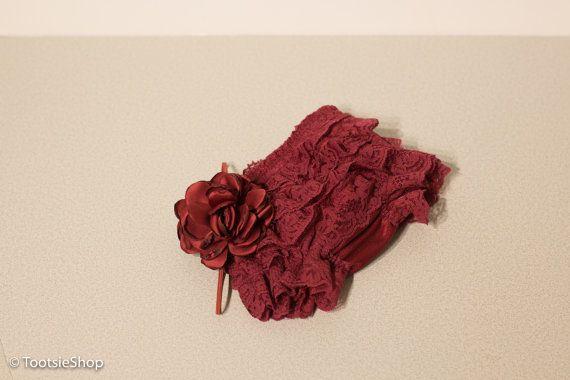 Bloomer Borgoña y flor diadema conjunto Prop foto por TootsieShop