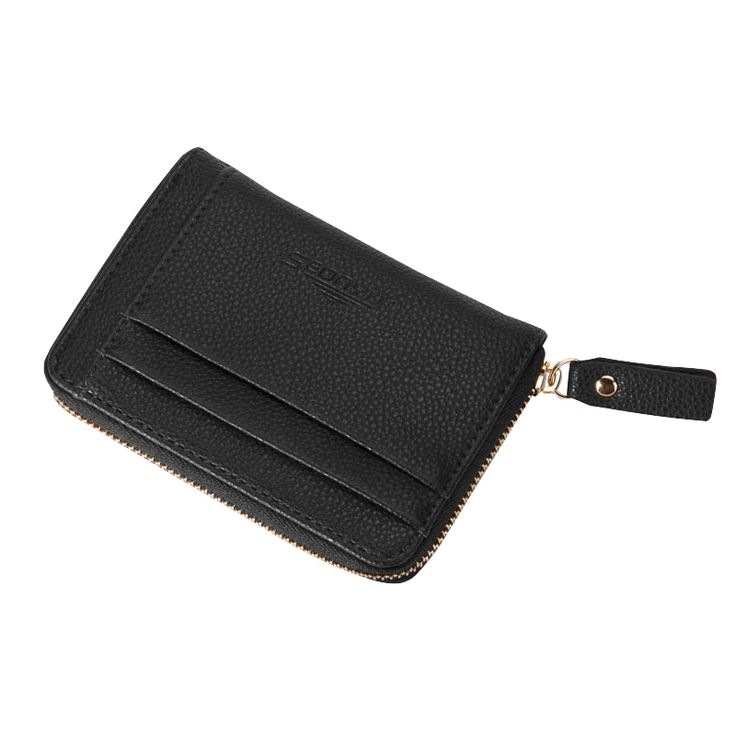 Men's Zipper Design Solid Card Holder Wallet PU Leather Short Purse For Man Litchi Pattern Male Small Purses #Affiliate