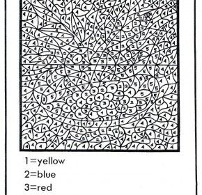 Coloring pages for teenagers, Color by numbers and