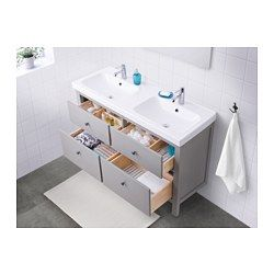IKEA - HEMNES / ODENSVIK, Sink cabinet with 4 drawers, gray, , Smooth-running and soft-closing drawers with pull-out stop.You can easily see and reach your things because the drawers pull out fully.Perfect for more than one since the sinks has two bowls.The included water trap is easy to connect to the drain, washing machine and dryer because it is flexible.Unique water trap design gives room for a full sized drawer.