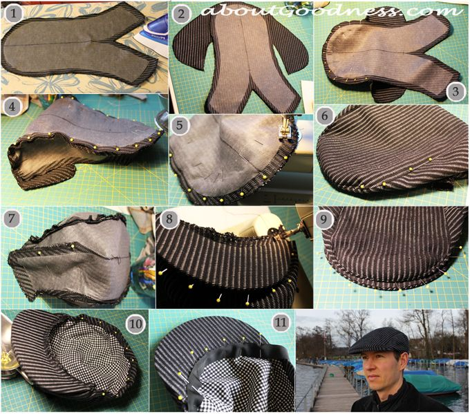 Men's flat/gatsby cap pattern DIY tutorial