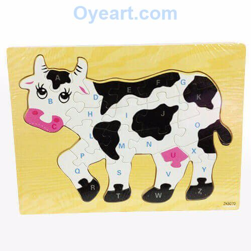 A beautifully designed, colourful, #wooden 26 piece #puzzle. A #colourful and stimulating 26 piece jigsaw in the shape of a cow is designed to both #educate and entertain your child. Consisting of 26 pieces each labelled with uppercase letters from the #alphabet A-Z, your #child can work their way from front to the back of the cow going from A-Z. Perfect for children from 24 months and up.