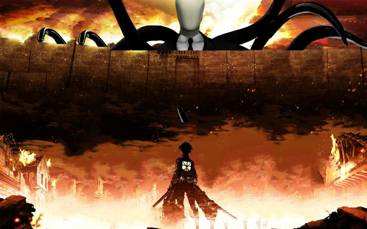 "have you ever watch a anime called ""attack on titan"" titan mean giant and the anime mainly about titan eating human, human fighting titan, titan eating human and continue. I put a picture of slanderman instead of titan"