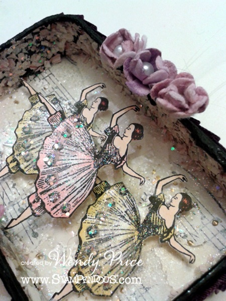@Wendy Felts Price made this delicate altered tin using #Stampendous new Carousel Circus Perfectly Clear Stamp Set.