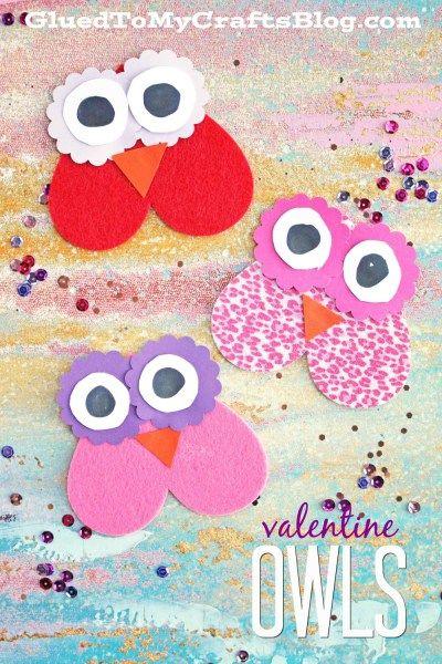 valentine owl craft free preschool crafts - 400×600