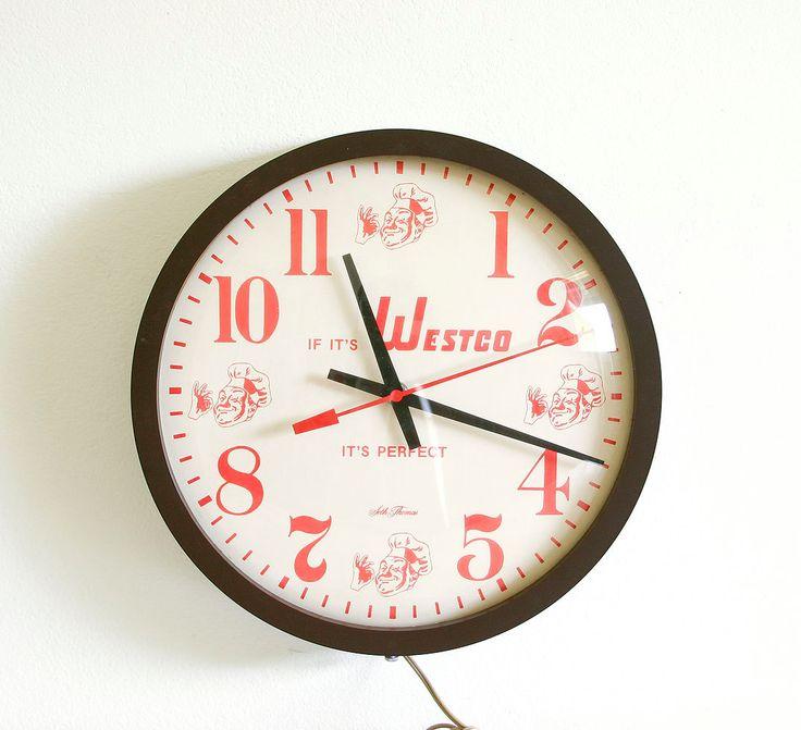 Vintage Advertising Wall Clock / Kitchen Clock / Industrial Decor by RobertaGrove on Etsy https://www.etsy.com/listing/188200482/vintage-advertising-wall-clock-kitchen