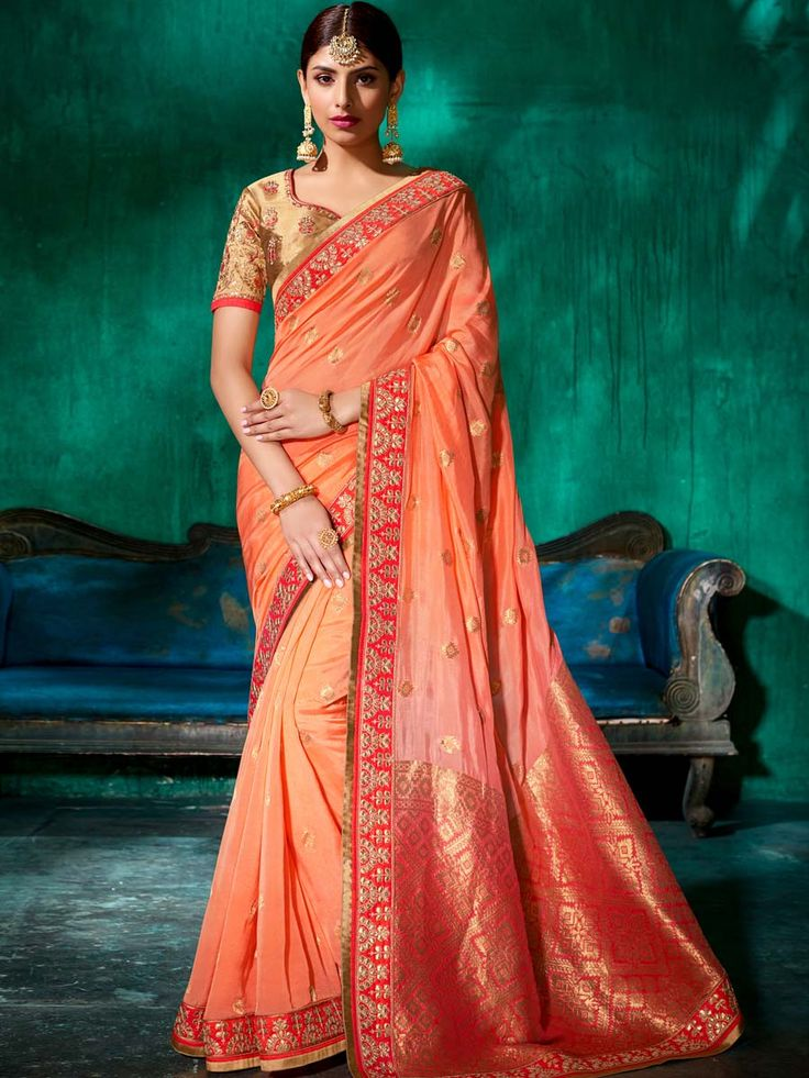 Innovative peach pure viscose saree adding allot to its style. Saree trend to give a woman sensual and stunning look.