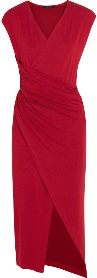 Pretty red dress, Ruched Stretch-Jersey Dress Donna Karan New York