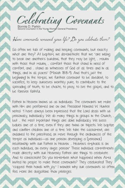 Celebrating Covenants talk by Sister Bonnie Parkin