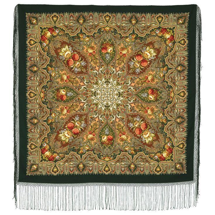 """Многоцветная шаль из уплотненной шерстяной ткани с шелковой бахромой """"Миндаль"""", вид 10"""