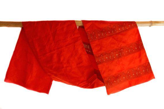 Red Silk Obi Japanese Vintage Kimono fabric Kimono by CJSTonbo