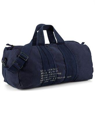 Polo Ralph Lauren Bag, Canvas Barrel Duffel Bag