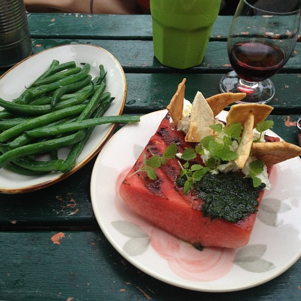 Grilled watermelon, fetta and pita crispy and green beans