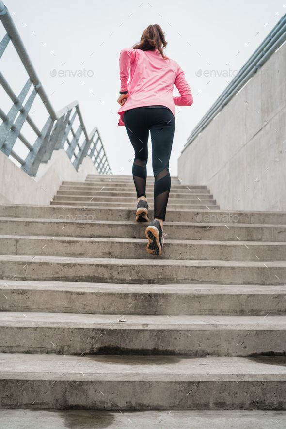 Sport Woman Running On Stairs By Megostudio Portrait Of A Sport Woman Running On Stairs Outdoors Fitness Sport And Healthy Running Women Sports Women Women