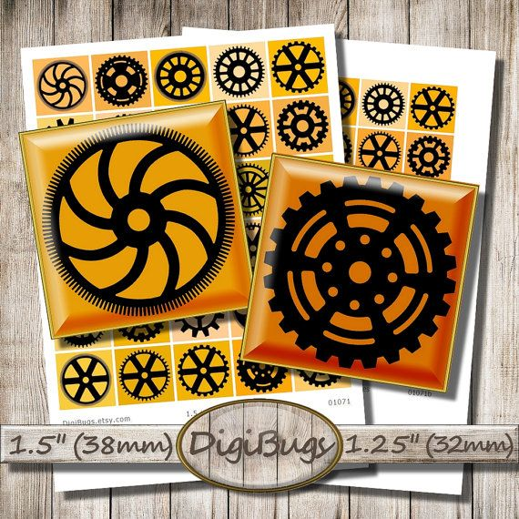 Printable Gears, Steampunk Squares, Digital Collage Sheet, Black and Orange Gear, 1.5 inch Squares, Instant Download, Digital Steampunk, c8