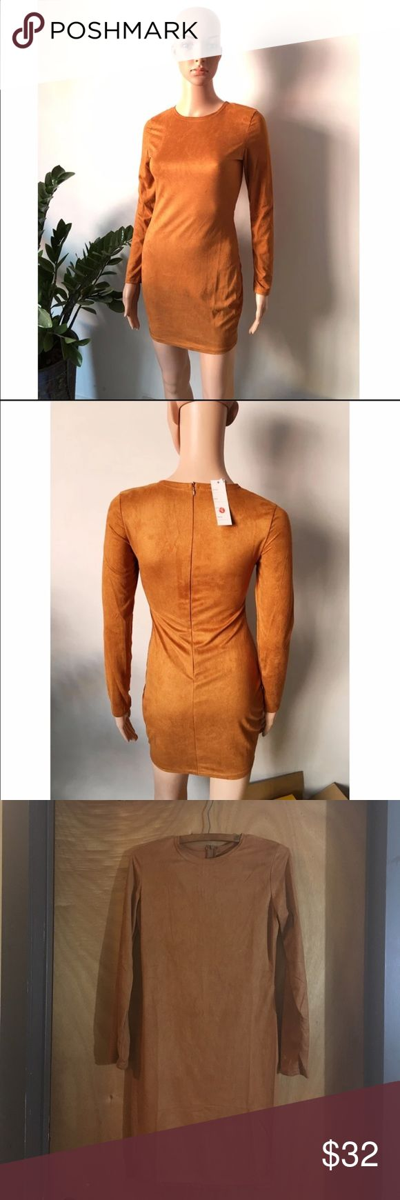 Skin Tight Faux Suede Bodycon Dress. Size S Long Sleeves Skin Tight Faux Suede Bodycon Dress.  Zips at the back. Fabric is beautiful.  Color: camel.  Polyester/microfiber.  Hand wash. Dry flat. Size small Dresses Mini