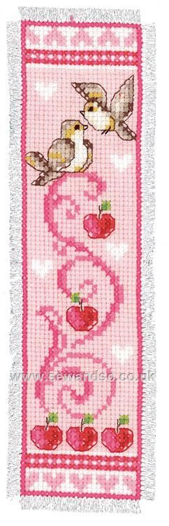 Buy Birds & Apples Pink Bookmark Cross Stitch Kit Online at www.sewandso.co.uk
