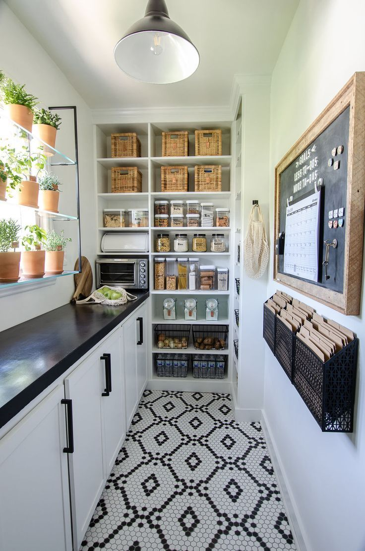 The Flooring For This Walk In Pantry Is Amazing Plus The Plants Lining The Window Just Perfect Pantry Remodel Pantry Design Kitchen Pantry Design
