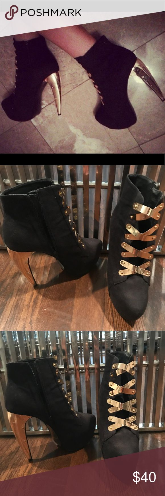 "Privileged platform boots with gold heel/details Black microsuede boot with platform heel and gold metal embellishment and details. The heel is gold metal and 7"" high. These are definite fashion statement pieces. Only worn once - excellent condition Privileged Shoes Ankle Boots & Booties"