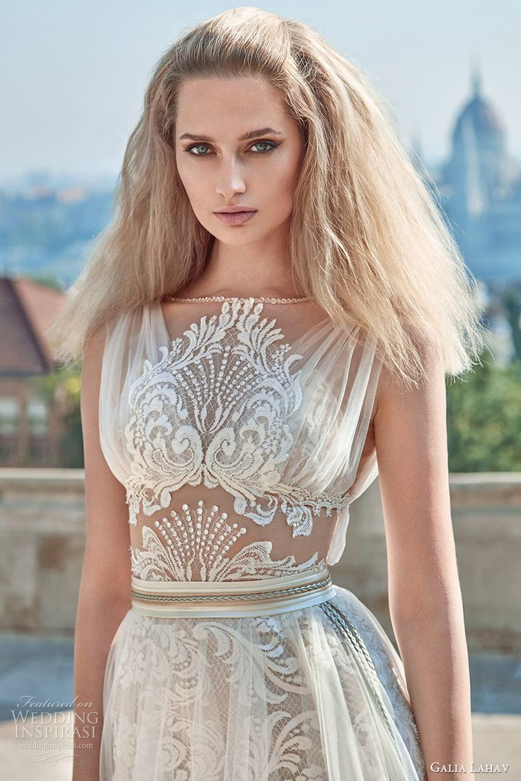 galia lahav fall 2016 bridal sleeveless illusion jewel neck draped straps illusion bodice a line overskirt wedding dress (flavia) grecian edgy zv
