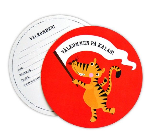 Cute, round and small invitaion card for children's party. Designed by Ejvor. #nordicdesigncollective #invitation #invitationcard #tiger #round #roundcard #party #kidsparty #childrensparty #invite #paper #print #post #red #orange #black #forkids #forchildren #kids #children