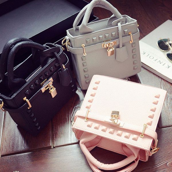 Stylish Rivet Lock Trendy Mini Handbag