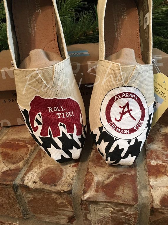 "Women's TOMS Alabama crimson tide. ""A"" , elephant, footballs and houndstooth"