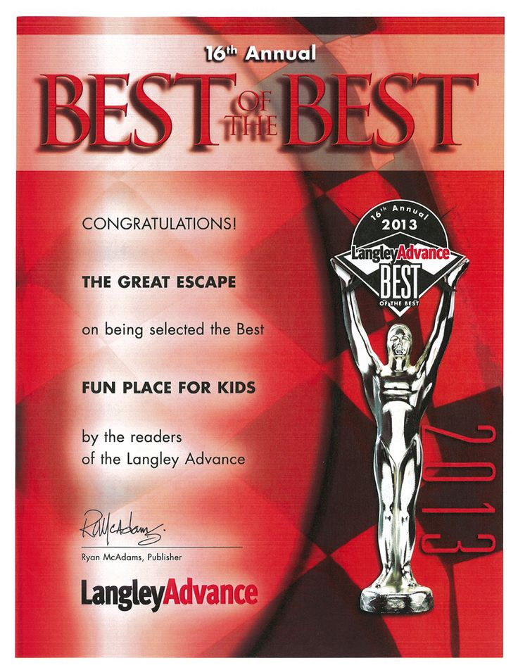 """this is our #FEC Training Center - The Great Escape in #Langley #BC wins BEST of the BEST award 2013 for """"Fun Place for Kids"""" - thanks to all who voted for us. www.thege.ca"""
