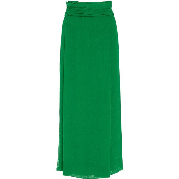 Protagonist Pleated Wrap Skirt ($780) ❤ liked on Polyvore featuring skirts, green, high waisted pleated maxi skirt, maxi skirt, long pleated skirt, pleated skirt and high-waisted skirts