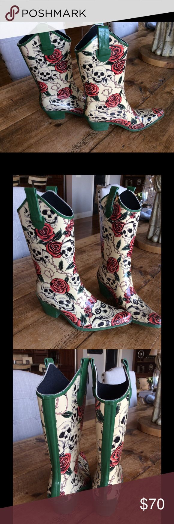 Corkys skull and roses cowboy rain boots sz 8 Great condition boots. Only worn once to steeplechase (a horse race similar to KY derby). Got tons of compliments on them. Sz 8 corkys Shoes Winter & Rain Boots