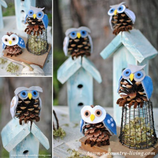 Snowy owl pinecone craft instructions an easy diy for Pine cone christmas ornaments crafts