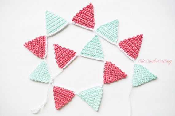 Crochet bunting crochet wall decor crochet by CuteLambKnitting